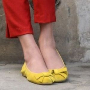 Jeffrey Campbell Leather Yellow Bow Ballet Flats